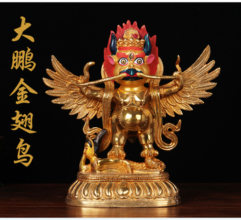 TOP GOOD 22 CM Large # HOME House Talisman # Buddhism gilding brass Garuda Dharma suparna Buddha statue
