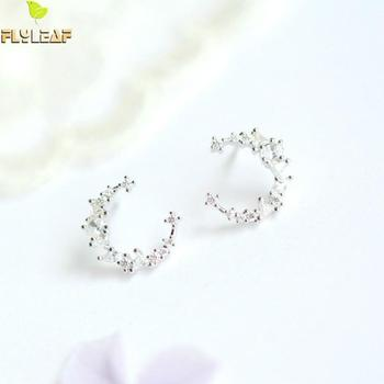 925 Sterling Silver Cubic Zirconia Moon Stud Earrings For Women Flyleaf Summer New Lady Fashion Jewelry 925 sterling silver stud earrings fashion jewelry for decoration trendy style cz cubic zirconia women girls party engagement