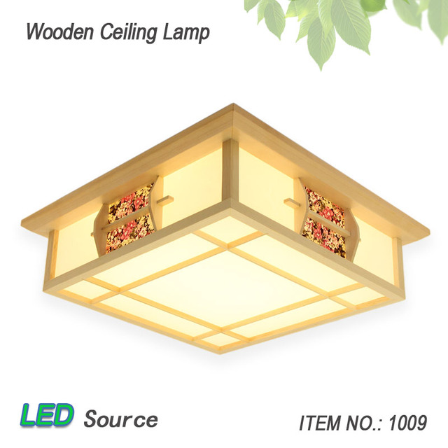Japanese Style Tatami Wood Ceiling and Pinus Sylvestris LED Lamp Natural Color Square Grid Paper Ceiling Lamp Fixture 1009