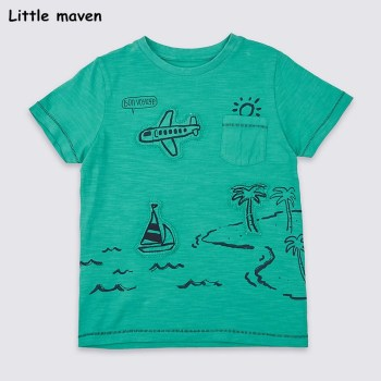 Little maven children clothes 2018 summer baby boys clothes short sleeve t shirt voyage print Cotton brand tee tops 50965
