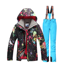 Gsou Snow Ski Jacket+Pants Windproof Waterproof Outdoor Sport Wear Camping Riding Skiing Snowboard Outdoor Sport Wear Suit Set gsou snow men ski jacket snowboard jacket windproof waterproof outdoor sport wear skiing snowboard clothing male winter jacket