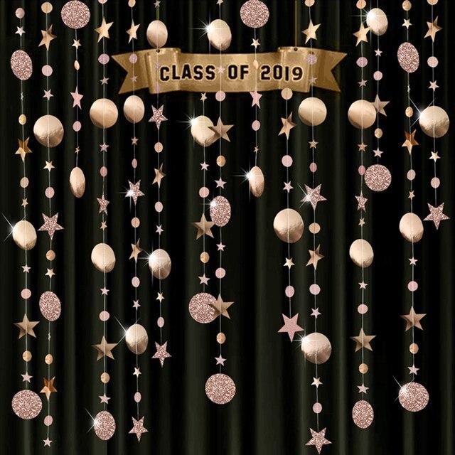 4 м блестящий круг звезда гирлянда Бантинг бумага баннер украшение для вечеринки свадьбы дня рождения детской комнаты подвесные принадлежности