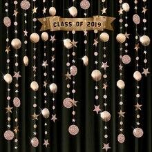 4m Glitter daire yıldız dize Garland Bunting kağıt afiş parti dekorasyon düğün doğum günü kreş odası asılı malzemeleri