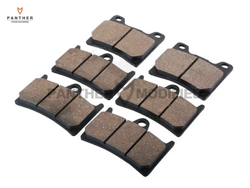 6 Pcs Semi-Metallic Motorcycle Front Rear Brake Pads Brake Disks case for YAMAHA BT1100 BT 1100 BULLDOG 2002-