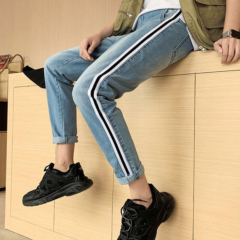 JEAN HOMMES pantalons Jeans HOMMES mode piste néon rayé lâche Denim pantalon décontracté cheville longueur grande taille haute qualité vêtements