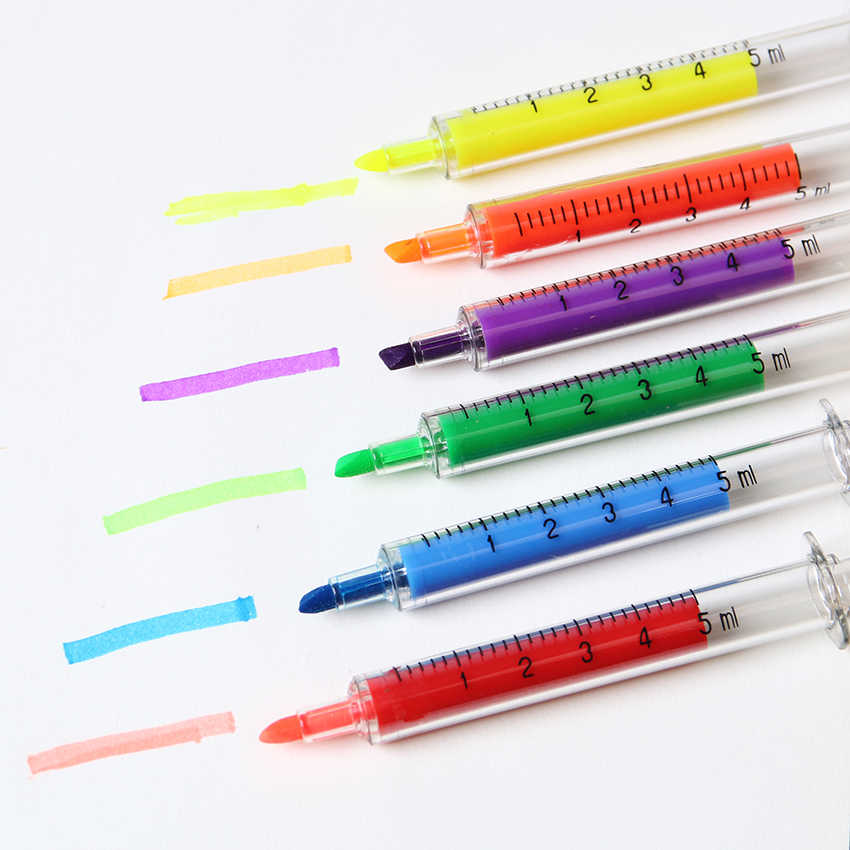 6PCS Cute Kawaii Novelty Nurse Needle Syringe Shaped Highlighter Marker Marker Pen Stationery School Supplies
