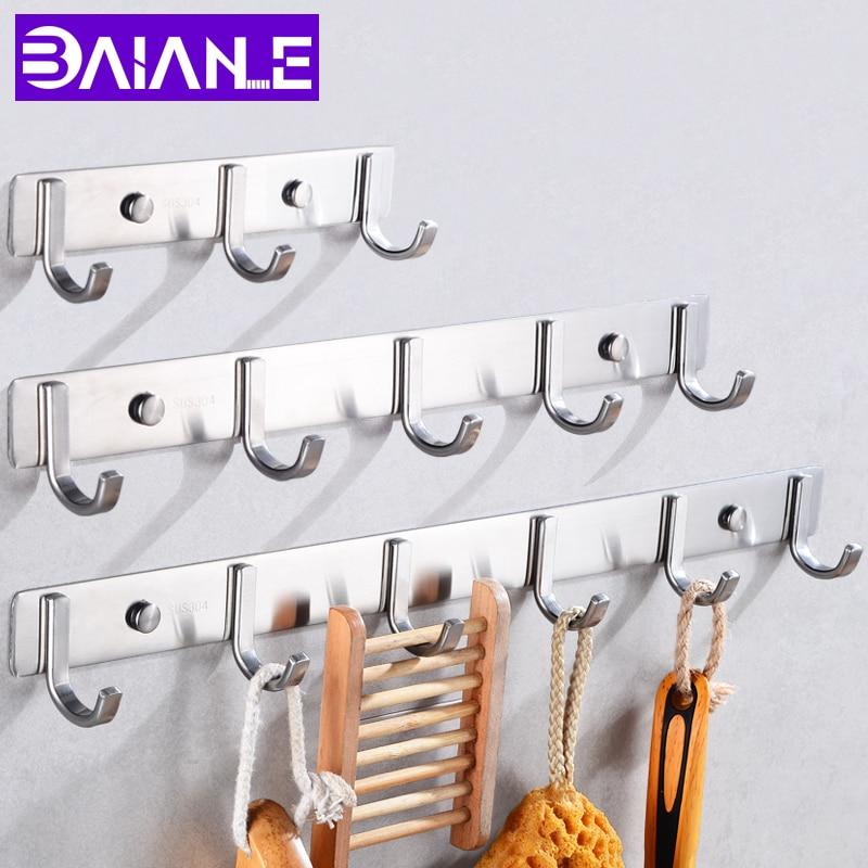 Robe Hooks Stainless Steel Bathroom Hook For Towels Key Bag Hat Clothes Coat Hook Wall Mounted Door Hanger Decorative Hang Rack