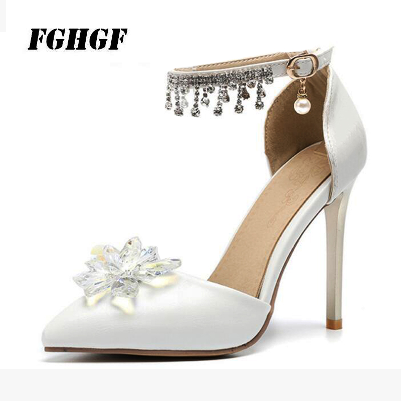 Fashion New Foreign Trade Fine Crystal Wedding Shoes Cinderella Baotou Sandals Banquet Shoes Button Water Drill Shoes Size 32-47