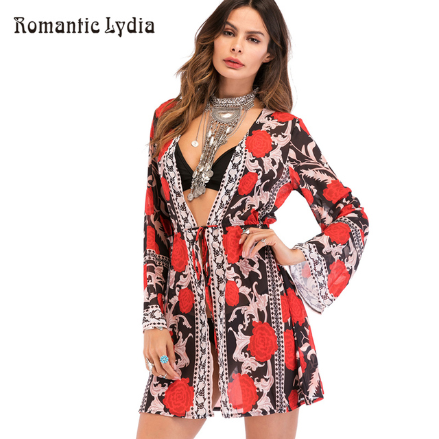 6121c766c6e1f Women 2018 Summer Elegant Boho Floral Print Bohemian Chiffon Kimono  Cardigan Long Sleeve Top Tie-