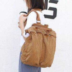 Image 1 - High Quality Mens Backpack Vintage Canvas Shoulder Bag School Bag Men Women Travel Bags Large Capacity Laptop Backpack Bag
