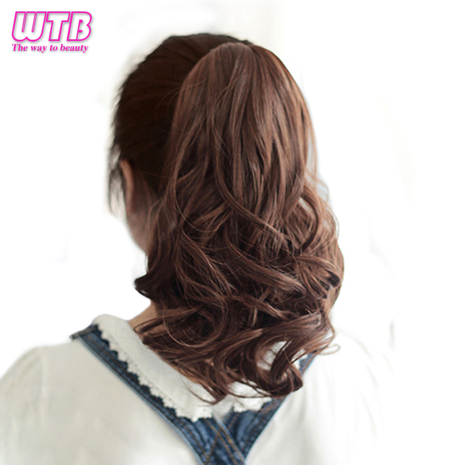 WTB Short Wavy Female Hair Ponytail Heat Resistant Synthetic Drawstring Natural Clip In Hair Extensions Pony Tail