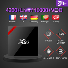 цена на IP TV French X96W Smart TV Box Android 7.1 2GB 16GB Amlogic S905W Quad Core SUBTV Code IPTV Europe Arabic French IPTV Top Box