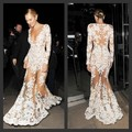 Sheer Mermaid Prom Dresses V Neck Appliques Long Sleeve Sexy Transparent Floor Length Long Sleeve Evening Dresses