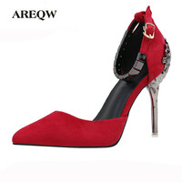 Women Shoes High Heels Sandal Hollow Carved Metal Bag With Women Pumps Sexy Ladies Stiletto Party