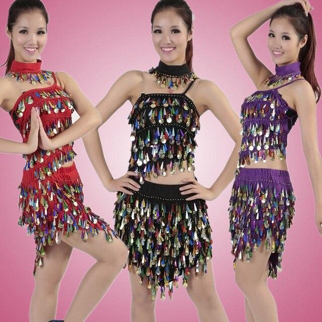 Rendimiento Lentejuelas borla Latino vestido de danza para las mujeres  Tango Samba traje para Salón baile f8f9ded9a20