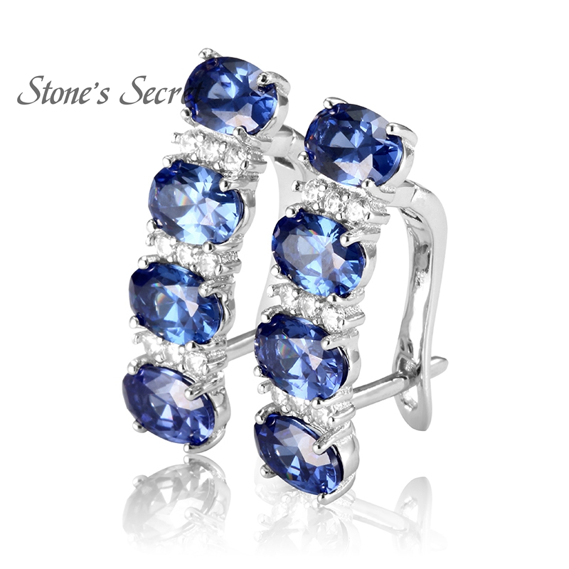 925 Sterling Silver Tanzanite Earrings For Women Blue Stone Fine Jewelry Wedding In From Accessories On Aliexpress Alibaba