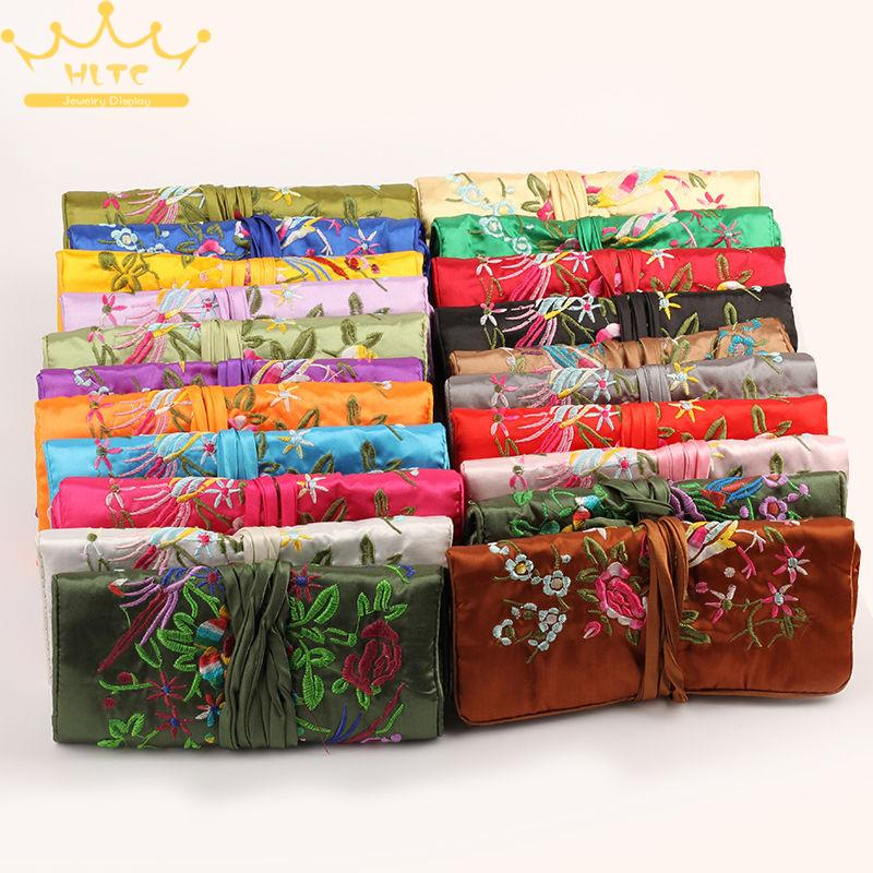 8pcs lot Wholesale luxury brand Max Colors Large Satin Jewelry Roll Holder storage pack bag Travel