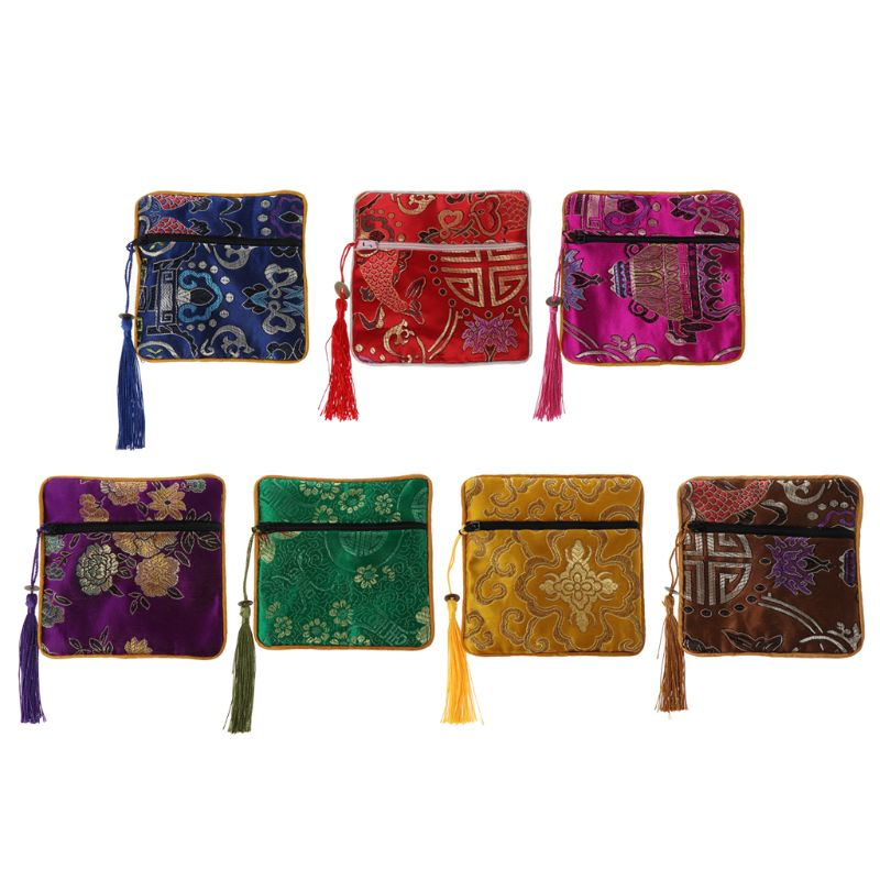 Mini Classic Chinese Embroidery Jewelry Bag Organizer Silk Tassel Traditional Pouch Portable Handbags 7 Color 2019