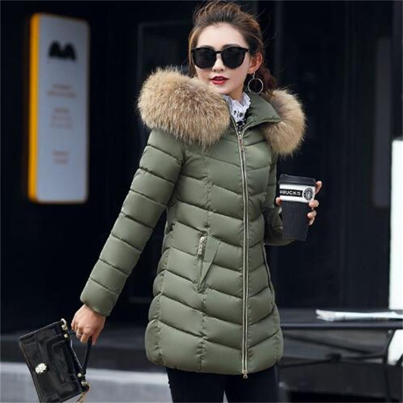 2019 New Winter jacket Women 100% true Raccoon Fur Collar Winter Warm Winter jackets Woman   Parkas   Outerwear Cotton Jacket S-4XL