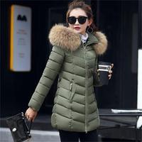 2019 New Winter jacket Women 100% true Raccoon Fur Collar Winter Warm Winter jackets Woman Parkas Outerwear Cotton Jacket S 4XL