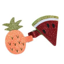 1 Pc Glitter Metallic Fruit Food Felt Hair Clips Pineapple Watermelon Hairpins Ice Cream Water Melon Girl Barrettes Grips(China)