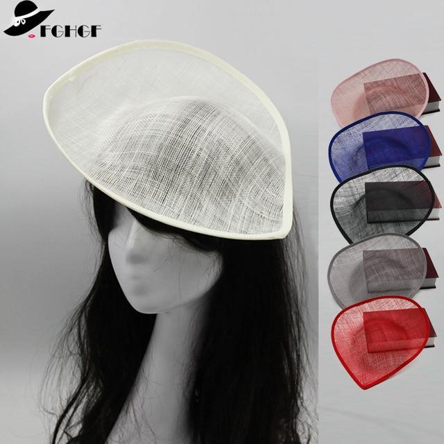 27799ae2cdaf3 FGHGF 33cm Width Large Sinamay Teardrop Fascinator Base Women Saucer with  Upturned Brim Millinery Hat Base Wedding Hats 5pcs lot