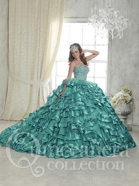 2016 Menta Azul Quinceanera Tule Vestido de Cetim Frisada Ruffles Ballo Vestido barato Doce 16 Vestido Vestido de Festa Vestido de Baile Vestidos De 15 Años QD38