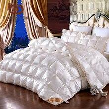 silk quilt plain leaves jacquard comforter goose down thick duvet queen king size home textiles