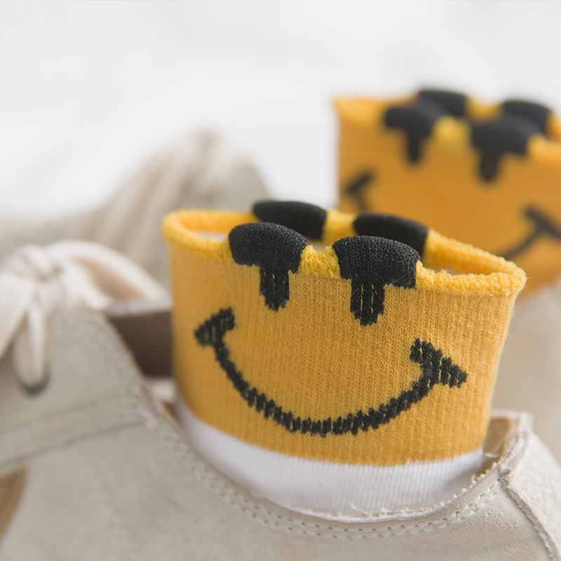 Sweet Smile Face Cartoon Short Women Socks Stereoscopic Ear Funny Adorable Expression Cotton Cute Socks Drop Shipping