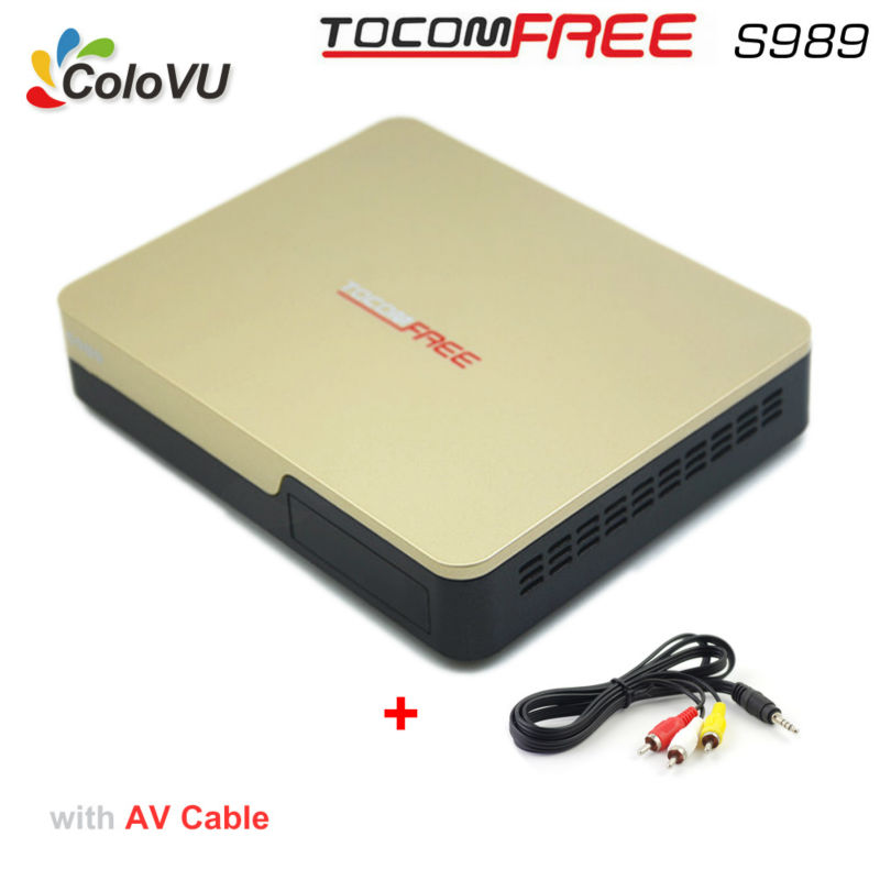 Satellite TV Receiver TocomFree S989 + AV Cable with Free IKS SKS IPTV DVB Receiver for Bolivia / Venezuela / South America azfox dvb s2 x7 mpeg4 1080p nagra3 satellite tv receiver w w free iks account for south american