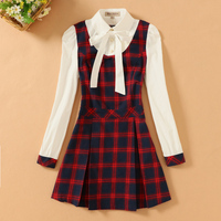 Spring And Summer Girls Dress Middle School Students Long Sleeve Lattice College Fake Two Sets Of
