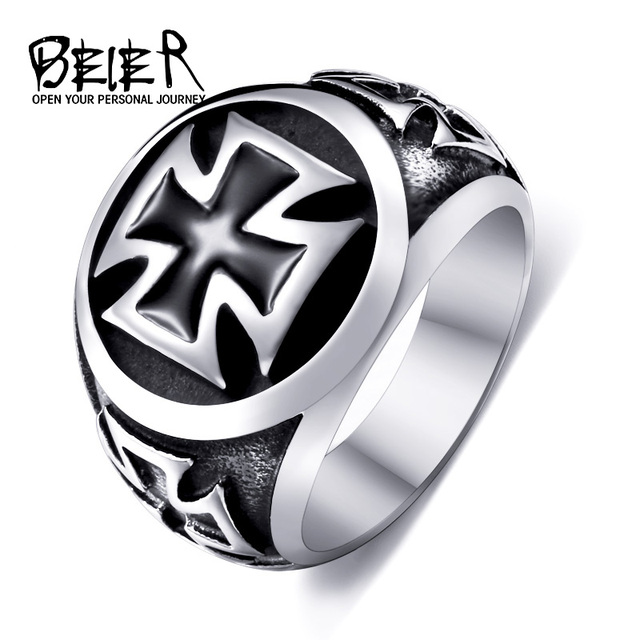 Beier new store 316L Stainless Steel high qualityCool Fashion Iron Cross Ring Ma
