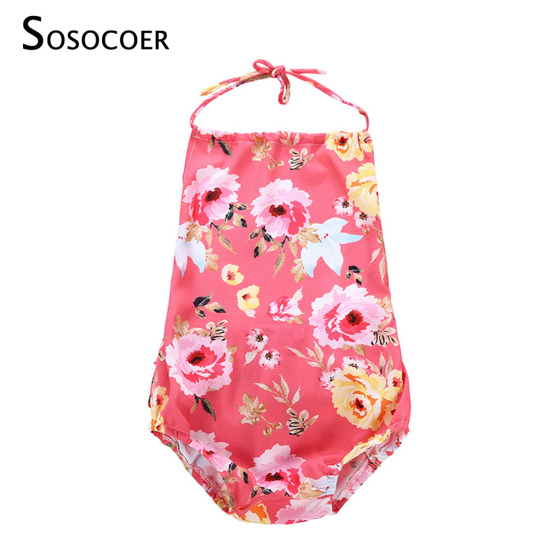 SOSOCOER Cute Floral Romper Baby Girls Clothes Summer Hanging Neck Infant Jumpsuit Rompers Toddler Newborn Outfits Hot Sale