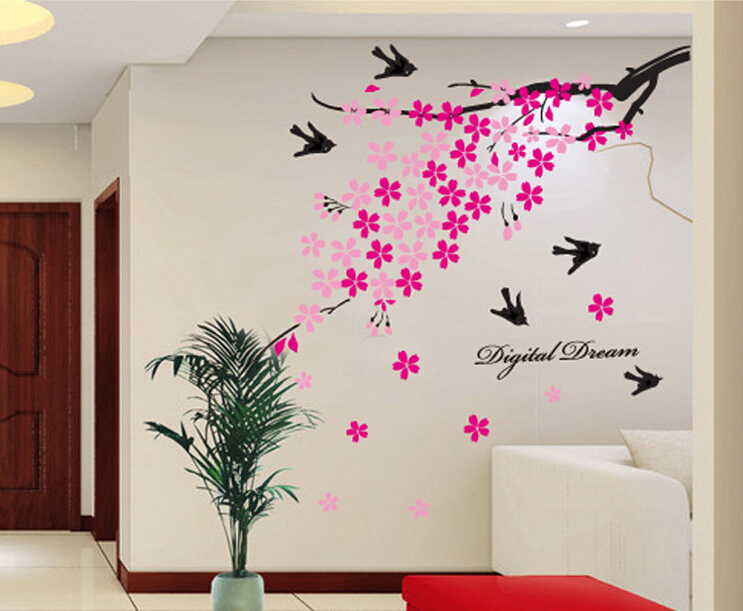 Removable wall decals large swallows sakura tree spring for Stickers pared baratos