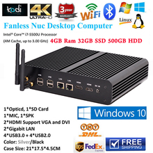 Безвентиляторный Mini PC Windows 10 Intel Nuc Core i7 Макс 3.0 ГГц 2 Lan Промышленных Micro PC Computador HTPC 4 ГБ RAM 32 ГБ SSD 500 ГБ HDD