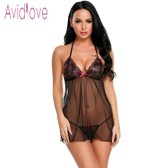 def5ab98d7db0 Avidlove Floral Lace Lingerie Sexy Hot Erotic Underwear Women Mini Babydoll  Dress Nightwear Lingerie Negligee Porn Sex Costumes