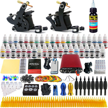 Complete Professional Tattoo Machine Kit Sets liner shader tattoo 2 machine kits suite set Power Supply Needles Grip Tip Set