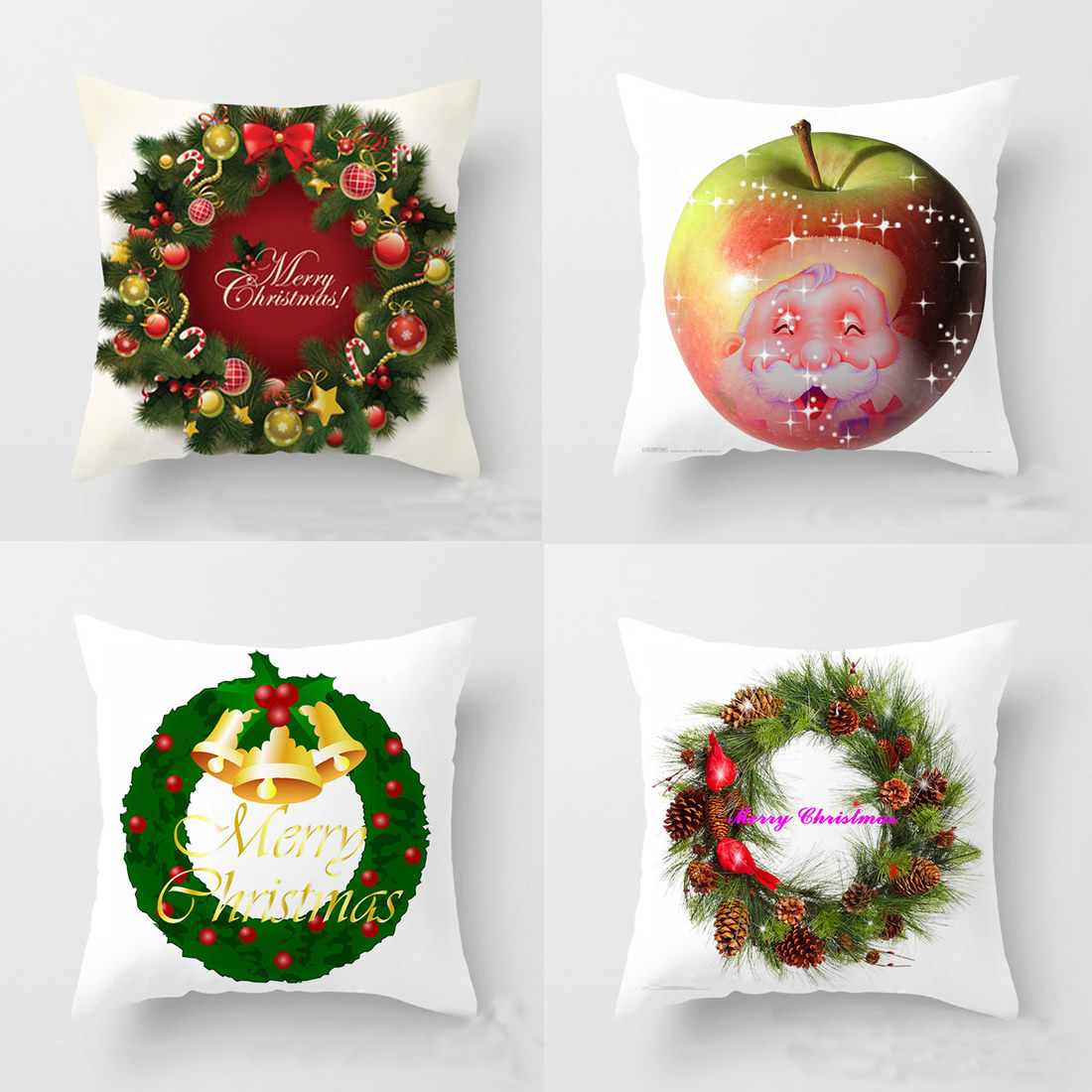 Merry Christmas Cushion Cover Santa Claus Apple Pillow Case Pillowcase Throw Cover For Sofa Car Decorative Home Textile F