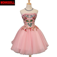 Cute Strapless Short Prom Dresses Pink Prom Dress Corset Tulle Ball Gown Homecoming Dress 2019 Semi Formal Gowns Party Dresses