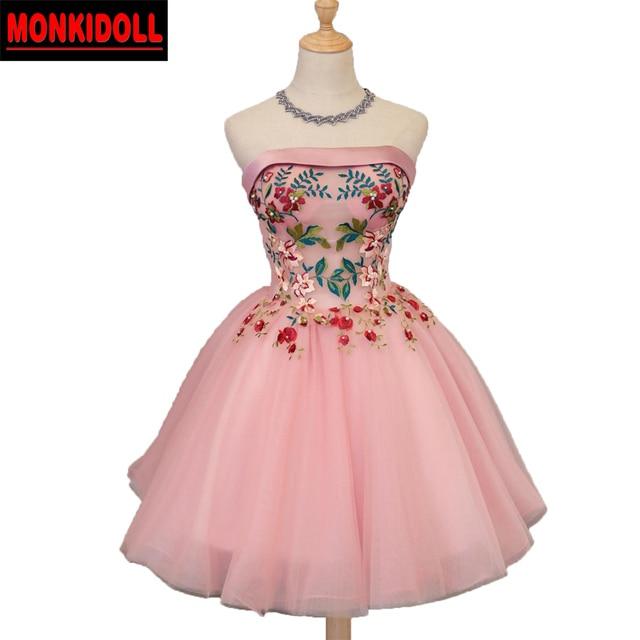 Lindo Sin Tirantes Corto Vestidos de Baile Vestido de Fiesta Rosa ...