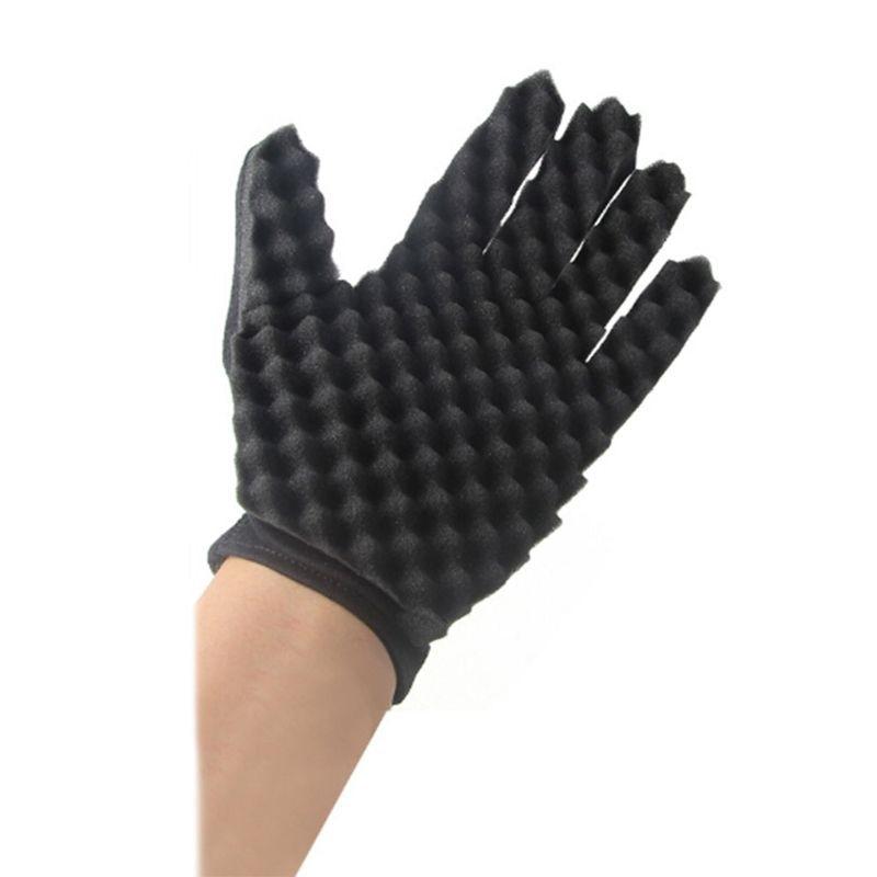 1Pc Sponge Gloves Fashion Curls Coil Magic Tool Wave Barber Hair Brush Hair Curler Home DIY Curling Professional Use  HM