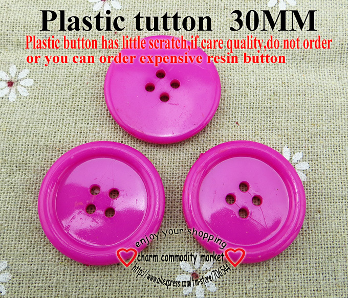 25PCS pulm Dyed Plastic buttons 30MM coat boots sewing clothes accessories 4-094-P