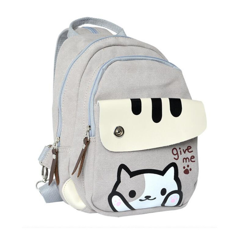 Cute cartoon cat bag children backpack women mini backpack school bags for girls Junior high school students backpack rucksack cami criss cross lace up backless bandage strap dress