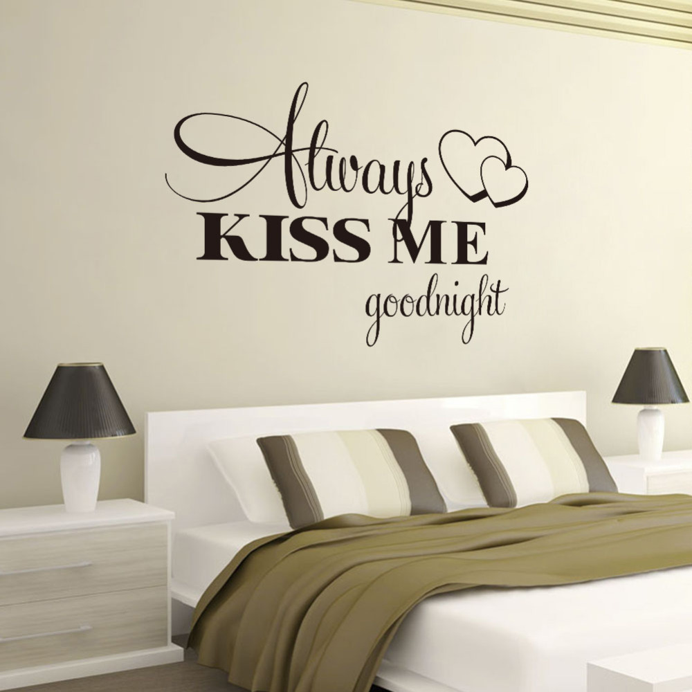Marvelous Love Wall Stickers Bedroom Quotes Alway Kiss Me Goodnight Home Decoration Wall  Decal Part 23