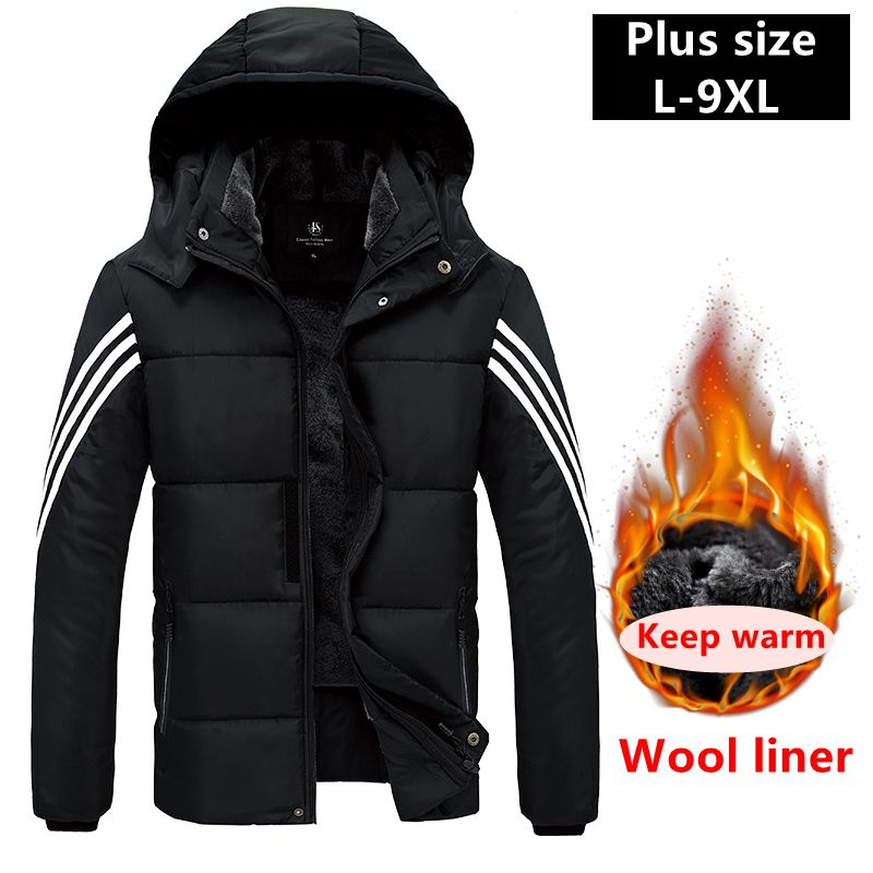 Wool liner Plus Size Winter   Parkas   7XL 8XL 9XL Jaket Men Thick jaket Warm Coat Hooded Windbreaker Male Jacket Clothes Overcoat
