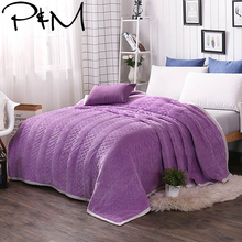 Papa&Mima thick Blanket warm Winter Bed Cover Solid Color Bedding Throw