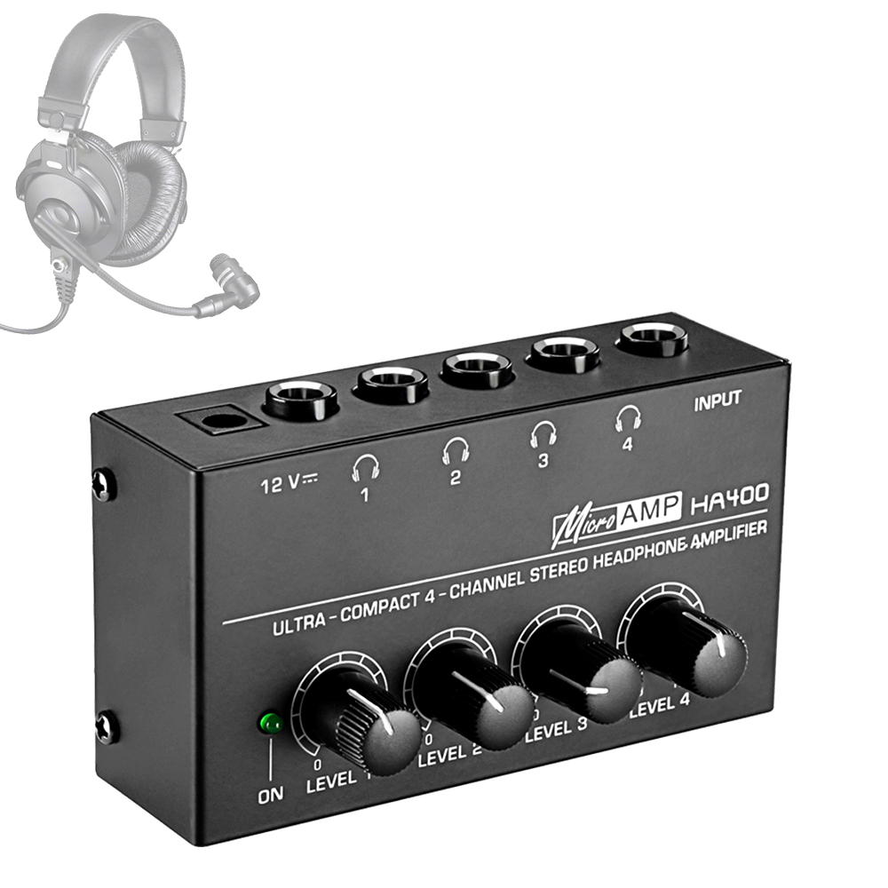 HA400 Ultra-compact  Mini Audio Stereo Headphone 4 Channels Amplifier With Power Adapter Black