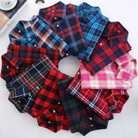 2016 Fashion Plaid Shirt Female College Style Women 39 S Blouses Long Sleeve Flannel Shirt Plus