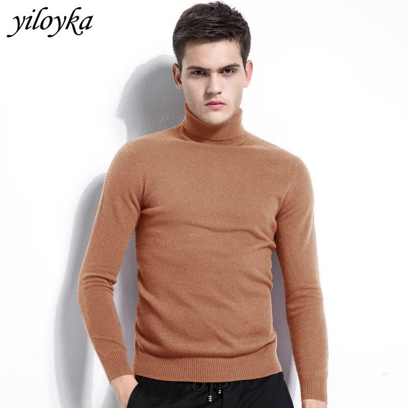 Winter Cashmere Thick Warm Sweater Men Turtleneck Brand Men's Sweater Slim Fit Pullover Men Knitwear Male Double Collar Sweaters