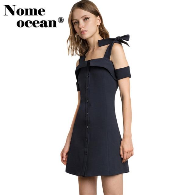 14c9c9cae Hombro frío recortado mujeres Vestidos solo botón breasted a-line mini  vestido atado correa de